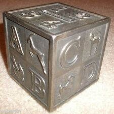 "Leonard 3"" ABC Building Block Cube Coin Bank, Silver Plate Metal, Italy, Vtg"