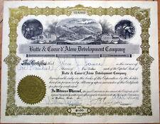 1928 Mining Stock Certificate: 'Butte & Coeur d'Alene Development Company'