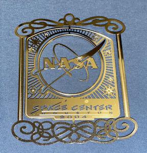 NASA LOGO SPACE CENTER HOUSTON SILVER COLOR METAL 2004 CHRISTMAS ORNAMENT