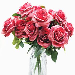 10 Heads Bouquet Silk Rose Artificial Flowers Fake Buch Wedding Home Party Decor