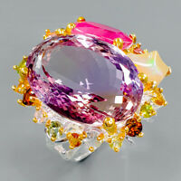 AAA Design 35ct IF Natural Ametrine 925 Sterling Silver Ring Size 8.5/R94130
