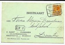 Treinstempel Amsterdam - Uitgeest V van Beverwijk 1925 naar Deventer blokstempel