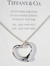 Tiffany & Co Elsa Peretti Open Heart Sterling Silver Diamond Pendant Necklace