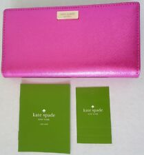 NWT 119 Kate Spade Stacy PINK BajaRose Leather Wallet Laurel Bifold Small Medium