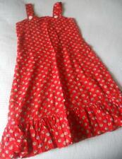FAB VINTAGE 60'S SMALL DAISY PRINT RED SEERSUCKER COTTON SUN DRESS TEEN XS