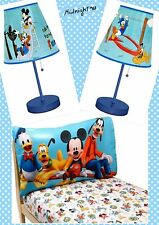 DISNEY JUNIOR MICKEY MOUSE CLUB HOUSE STICK TABLE LAMP BLUE+2 PIECE TODDLER SET