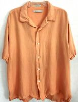 Geoffrey Beene Mens Linen Casual Button Down Shirt Short Sleeve Size XL