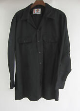 Dickies Work Shirt L Black L/S Mechanic Button Front Size Large