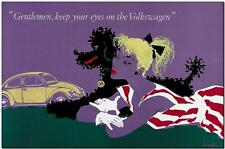 """VINTAGE VOLKSWAGEN VW Beetle Ad Poster FRAMED CANVAS PRINT 24""""x16"""" poodle"""