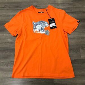 New AVIREX Ice Tiger Short Sleeve Crew Neck T-Shirt Mens Large Orange AVH192K11