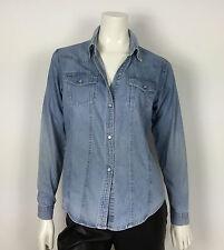 Alluci jeans camicia jeans donna shirt usato manica lunga azzurro blu vintage L
