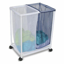 Homz Double Mesh Sorter Laundry Organizer Hamper Basket with Removable Bags