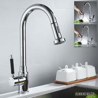Kitchen Pull Out Sink Mixer Taps Spray Chrome Single Lever  Swivel Spout Tap