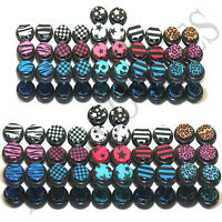 V114 Fake Cheater Illusion Faux Ear Plugs 0G 00G 8mm 10mm White Blue Red Black