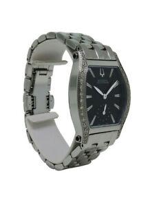Bulova Accutron 65R006 Women's Petite Tonneau Bllack Analog Diamond Watch