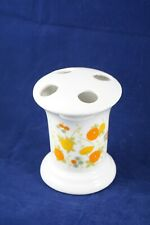 Vtg Ceramic Toothbrush Holder White with Orange & Yellow Flowers Bathroom Decor