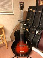 Vtg 1953 Harmony Monterey H950 Archtop Acoustic Guitar Redburst W/Original Case