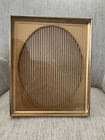 """Vintage Gold Tone Metal Oval Matted Picture Frame 11""""x9""""Opening 8""""x10"""""""