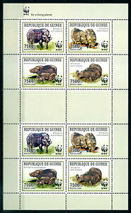 2009 Guinea, Giant Forest Hog, WWF, sheet of 8 stamps, MNH