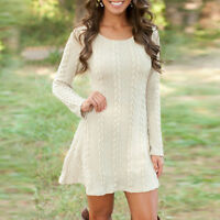 Women Long Sleeve Casual Knitted Sweater Cable Knitwear Party Jumper Mini Dress