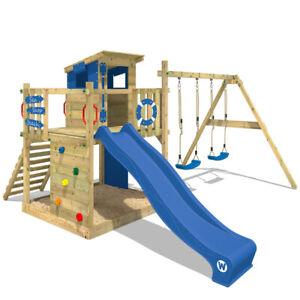 WICKEY Spielturm Stelzenhaus Smart Camp - Spielhaus mit Schaukel, blaue Rutsche