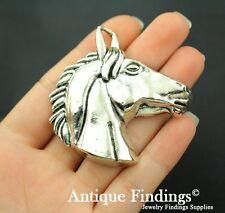 1pcs Horse Head Metal Charm Antique Tibetan Silver Charm Pendant SC371