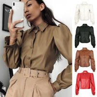 Women Faux Leather Puff Sleeve Tops Shirt Ladies Button Sexy Casual Work Blouse