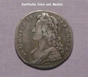 1732 KING GEORGE II SILVER CROWN - SEXTO ERROR - RARE COIN