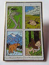 Scott 1921-24 Wildlife Habitat Preservation Block 1981 18c Stamp pin pinback New