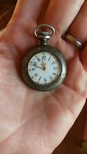 Antique Sterling Gavour Ladies Pocket Watch, NE Sterling Fleur de lis Case