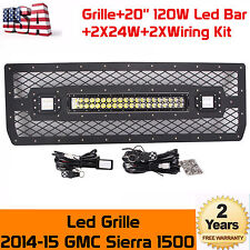 2014-15 GMC Sierra 1500 Led Grille W/ 20'' 120W Led Light Bar+2x24w Lamp+2xWire