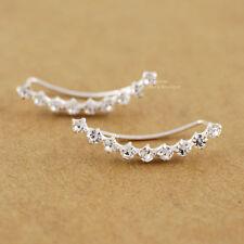 925 Sterling Silver White CZ Line Climber Crawler Wrap Earrings Women A1775