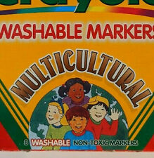 Vintage 1997, Crayola 587801 Washable Ethnic Tone Multicultural Markers 8 Colors