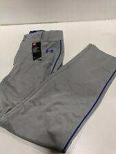 Men's Under Armour Relaxed Fit Baseball Pants Grey/Royal Sz Lg