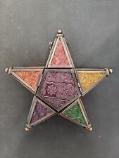 Hanging Multicoloured Glass Star Shaped Tea Light Lantern with hinged door 20cm