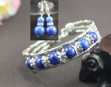 Ladies Bangle Earrings Tibetan Silver Lapis Lazuli Woman Bracelet Earrings Set