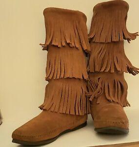 Minnetonka Brown 3 Tier Fringe Leather Moccasins  Womens Sz  6