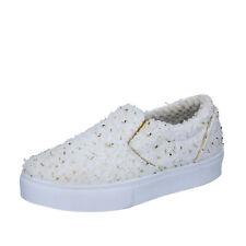 scarpe donna 2 STAR 39 EU slip on bianco oro tessuto BZ525-F