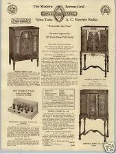 1930 PAPER AD Minerva 9 Nine Tube Radio Console Floor Cabinets