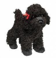 New DOUGLAS TOY Stuffed Plush BLACK POODLE DOG Soft Animal Puppy RED BOW