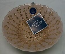 """NEW W/TAGS AZZURRA 100% GENUINE SILVER 8"""" GLASS BOWL MADE IN TURKY - PINK & GOLD"""