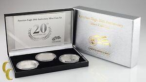 2006 Silver American Eagle 20th Anniversary 3-Coin Set w/ Box & CoA