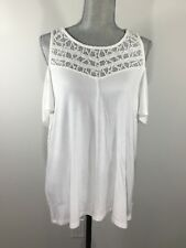Joie Size S Small Cold Shoulder Lace Yoke Short Sleeves White Blouse Top Shirt