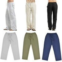 Casual Pants Straight Men's Cotton Linen Solid Drawstring Trousers SF Loose