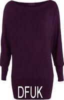New Women Tops Batwing off Shoulder T-Shirt Long Sleeve Jumper Jersey Dress 8-24
