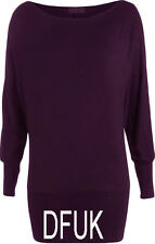 New Ladies Batwing off Shoulder Tops T-Shirt Long Sleeve Jumper Jersey Dress8-26