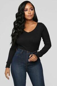 Fashion Nova Ashley V Neck Top - Black - Size M / UK10-12 , BNWT