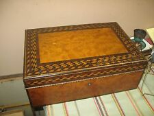 "ANTIQUE INLAY WOOD MARQUETRY LADIES BOX CHEST  11"" X 16"" X 6"" DEEP"