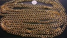 12 ft Yellow gold plated cable chain 8x7mm diamond twist 4 open links in pch037