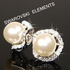 Pearl Stud White Gold Filled Costume Earrings